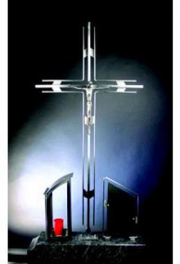 EDELSTAHL GRABKREUZ 140 X 68 CM MIT JESUS
