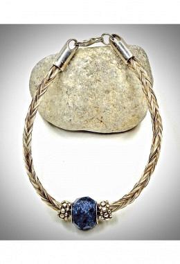 Armband aus Pferdehaar mit Silber und Sodalit Anhänger