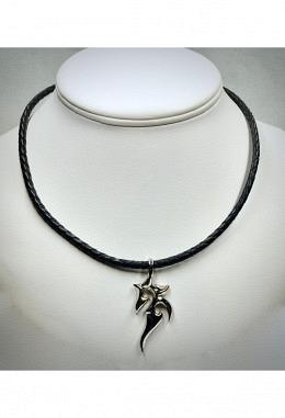 Halsband Leder geflochten schwarz mit Anhänger