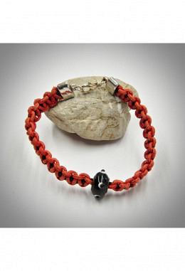 Armband Leder geflochten rot/schwarz