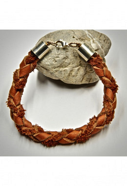 Armband Leder geflochten  braun