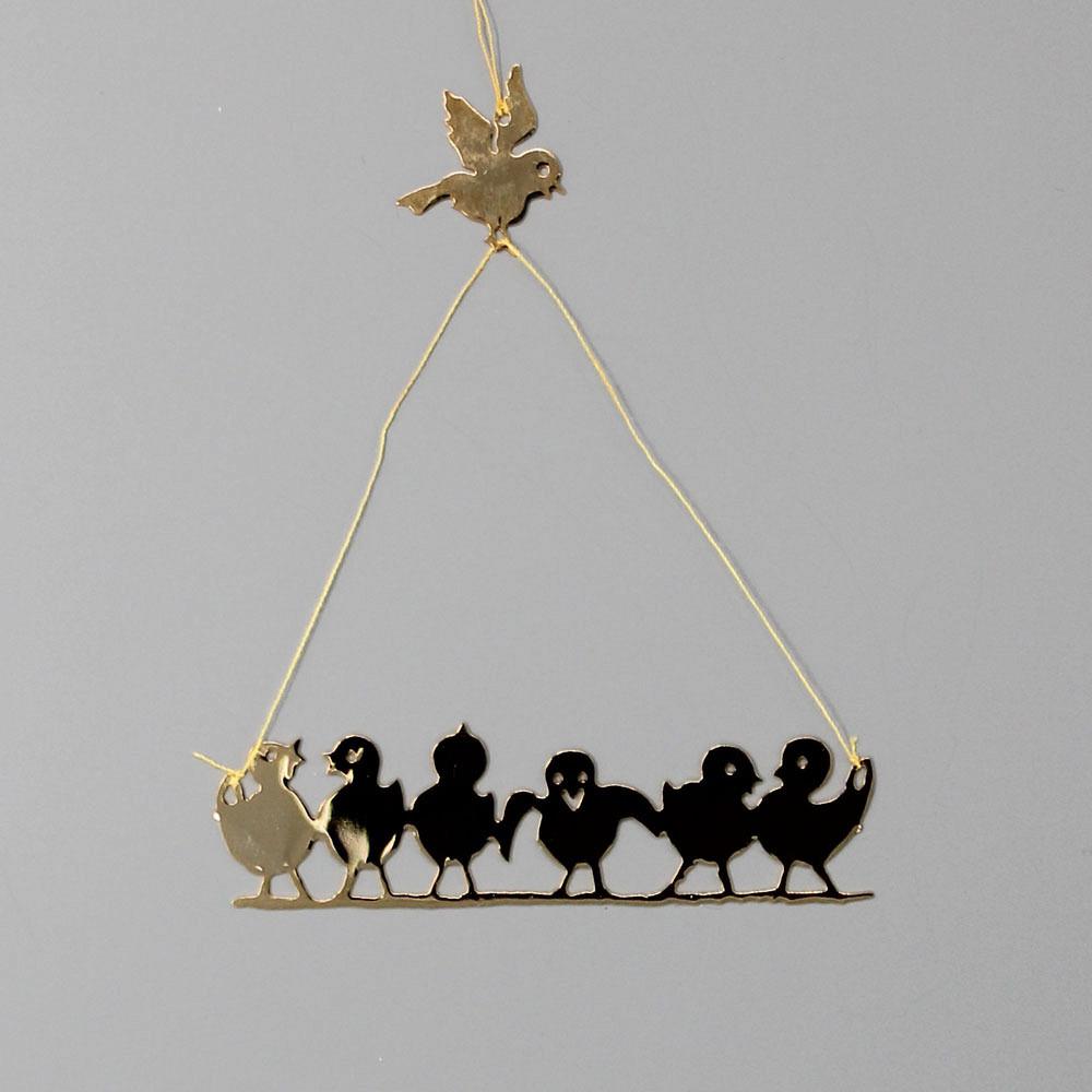 Metallhänger mit 6 Vögelchen & 1 Vögelchen
